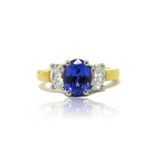 18k Yellow Gold and Platinum Tanzanite Ring