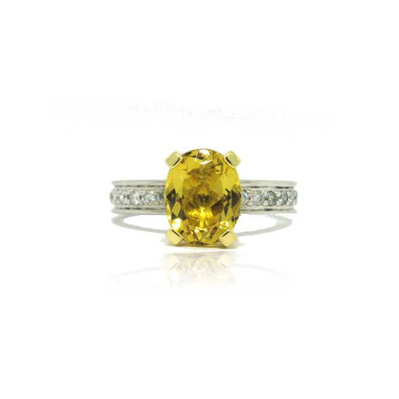 14k White and Yellow Gold Diamond and Golden Beryl Ring