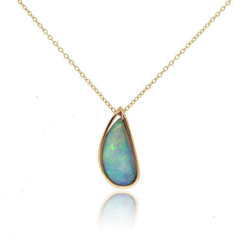 14k Yellow Gold Water Drop Opal Pendant