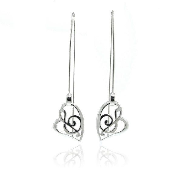Stylized Music Earrings with Dramatic Long Ear Wire