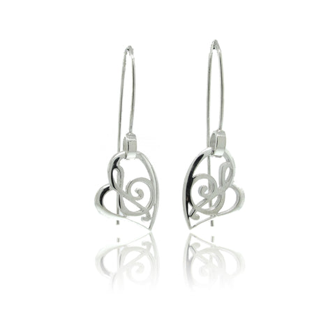 Stylized Music Earrings with Short Wire in Sterling Silver