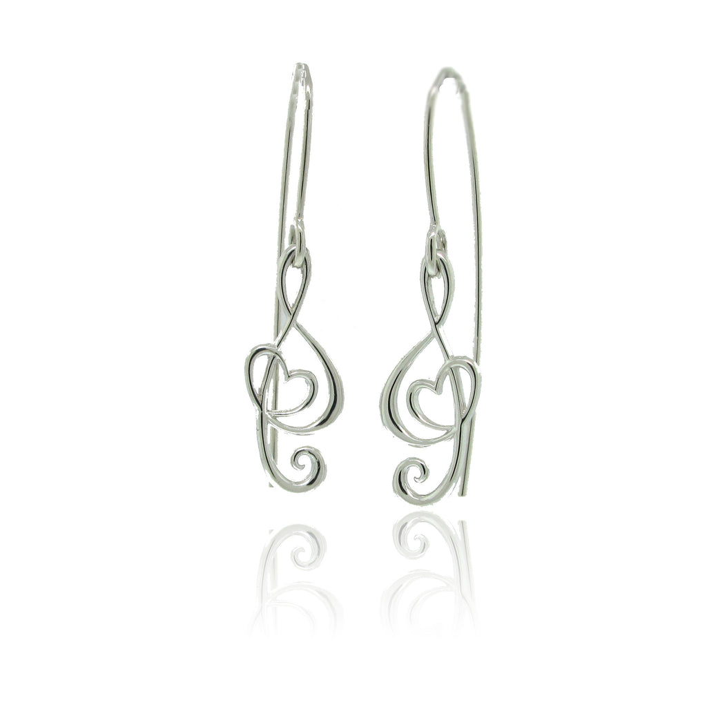 Sterling Silver Stylized Note Earirngs