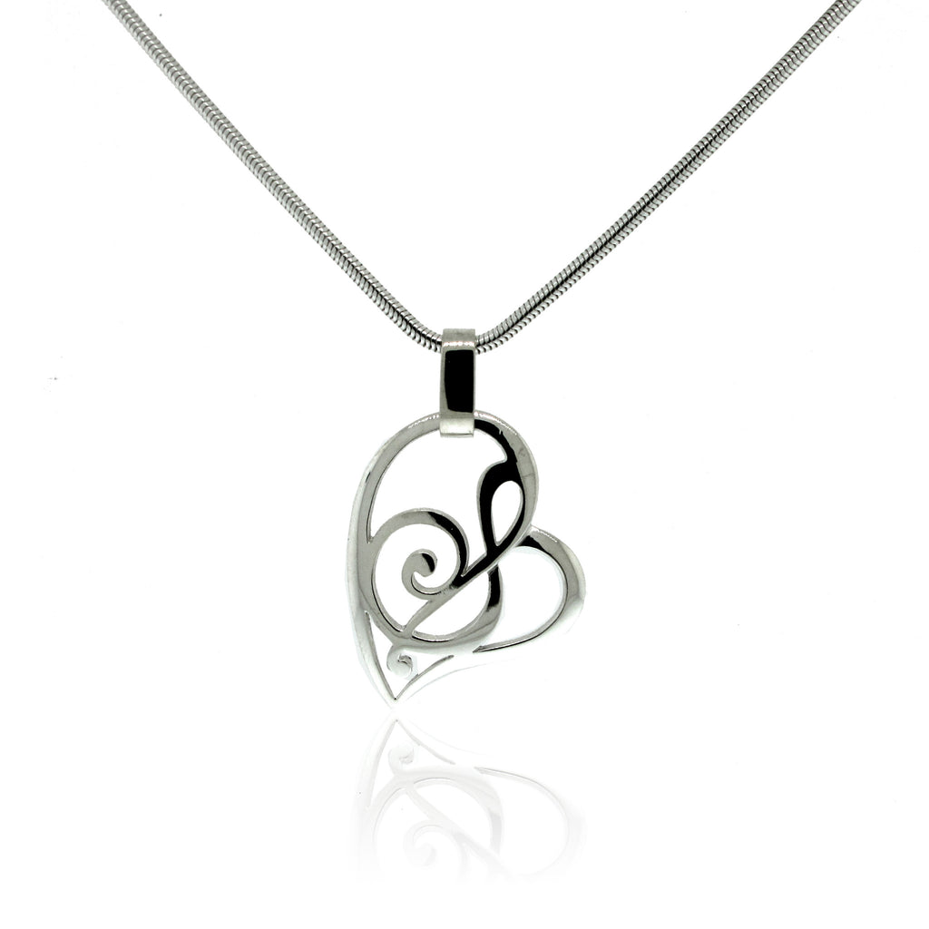 Stylized Note Heart Pendant in Sterling Silver