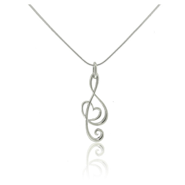 Sterling Silver Stylized Note Pendant