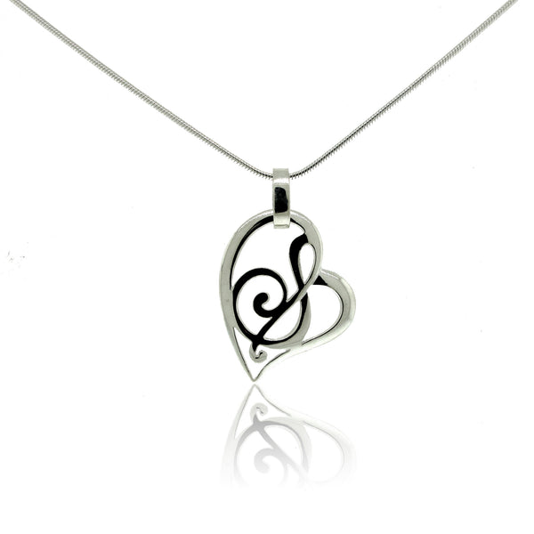 Stylized Heart and Note Pendant in Sterling Silver