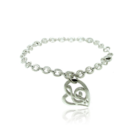 Stylized Charm Bracelet in Sterling Silver