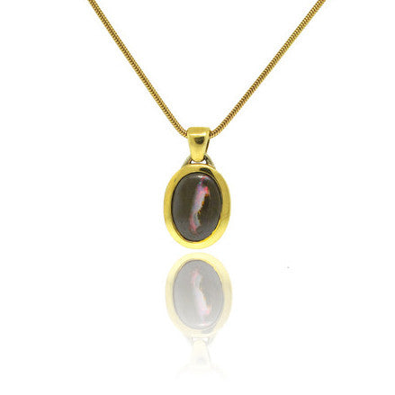 18k Yellow Gold and Ethiopian Black Opal Pendant