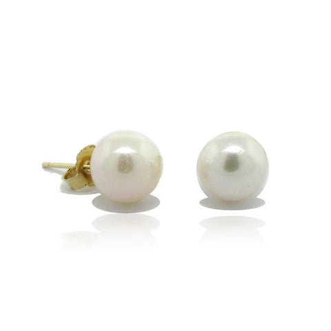 9mm Akoya Pearl Earrings Set in 14k Yellow Gold