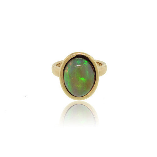14k Yellow Gold Ethiopian Opal Ring