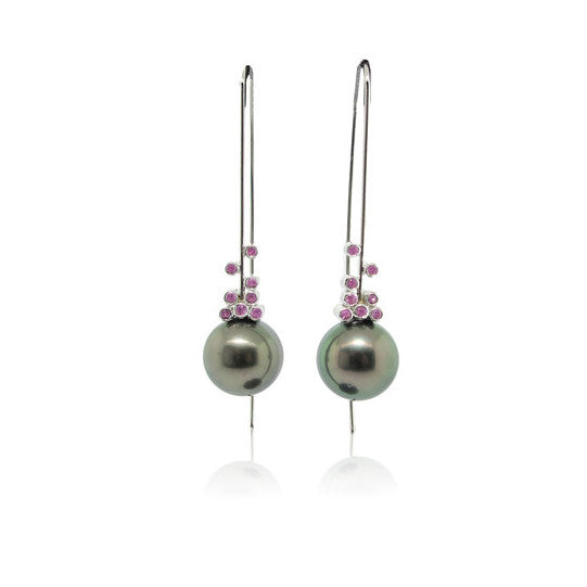 Tahitian Pearl and Pink Sapphire Earrings