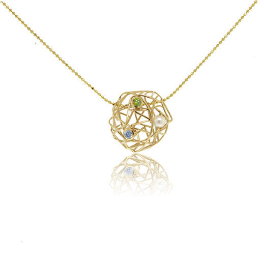 14k Yellow Gold Necklace with Peridot, Aquamarine and Pearl