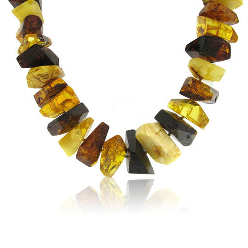 Edgy Angular Multi Colour Amber Necklace 24