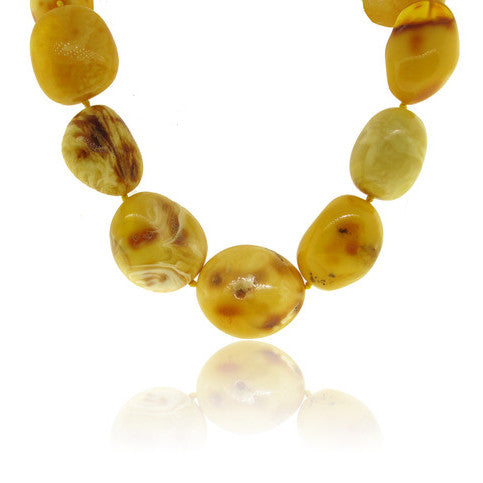 Oblong Imperial Amber Necklace with Silver Clasp