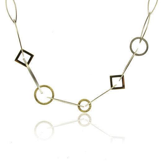 14k White Gold and 18K Yellow Gold Geometric Necklace