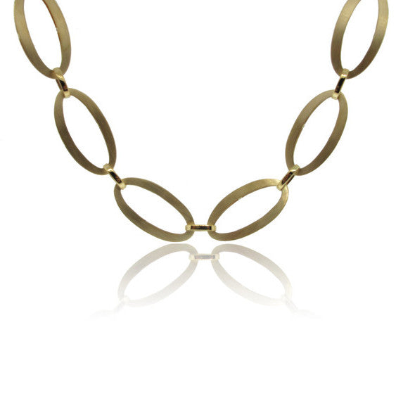 14k Yellow Gold Geometric Oval Necklace