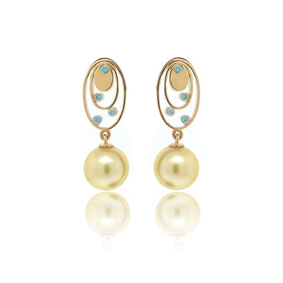 Golden Pearl Earrings with Blue Diamonds