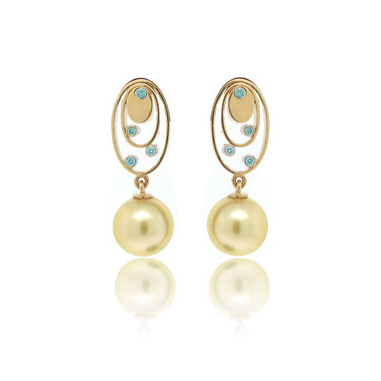 Golden Pearl, Yellow Gold and Diamond Earrings