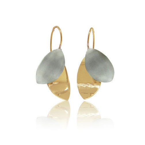 18k Yellow Gold and 14k White Gold Leaf Earrings