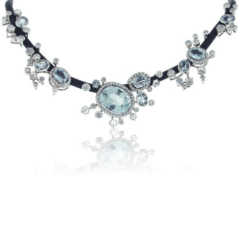 Diamond and Aquamarine Necklace