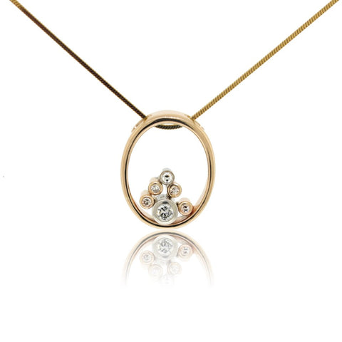 Two Tone Bezel Set Pendant