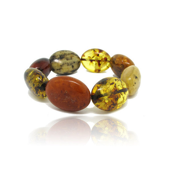 Oval Shape Multi Colour Amber Bracelet