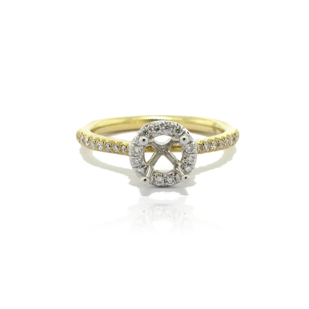 14k Two Tone Halo Ring with Side Diamonds
