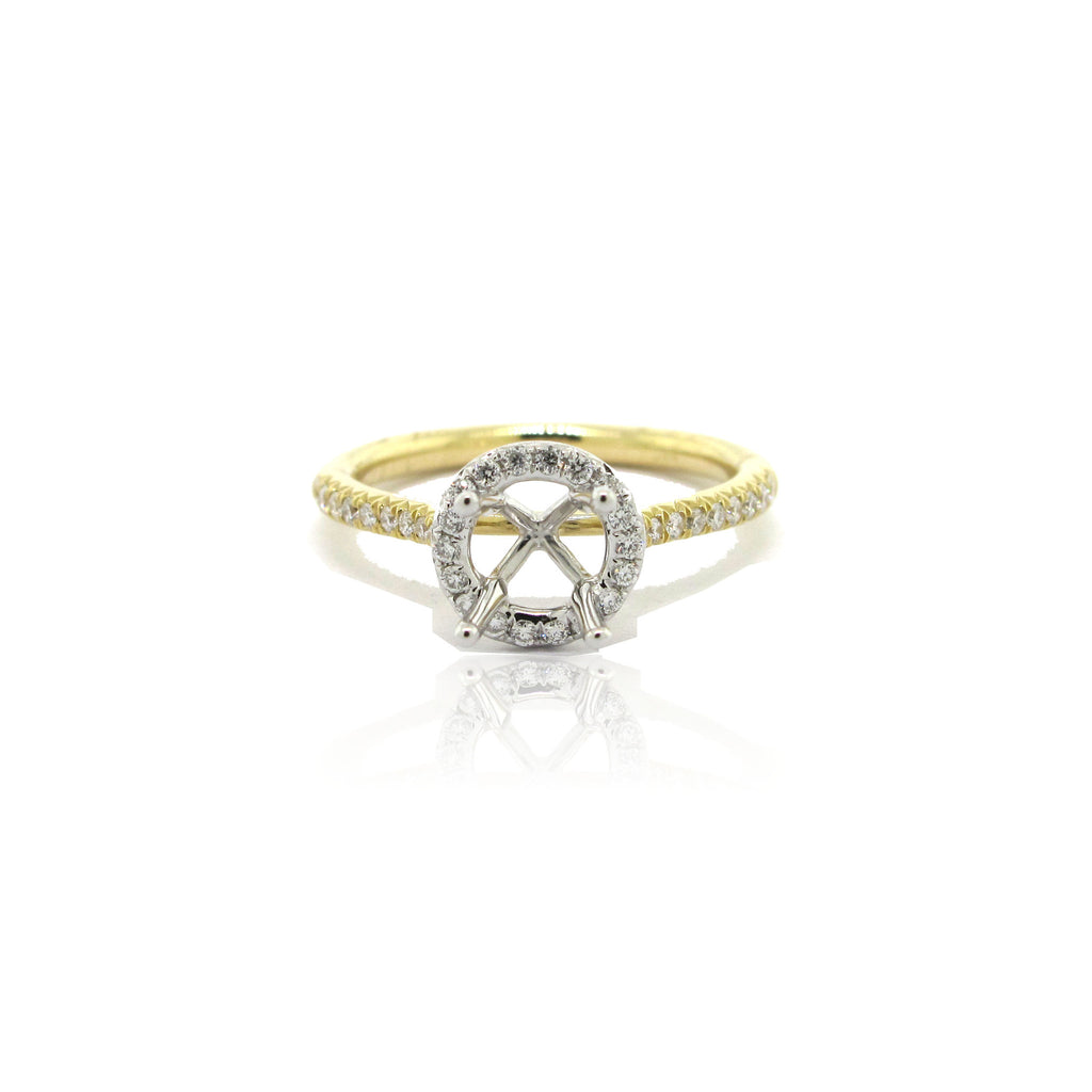 14k Yellow and White Gold Halo Ring with Side Diamonds