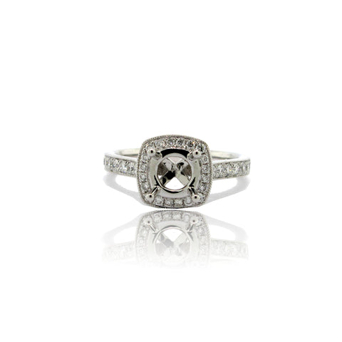 14K White Gold Cushion Halo Ring with Side Stones