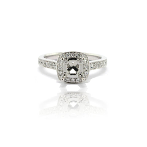 14k White Gold Cushion Halo Ring