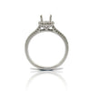 14k White Gold Spilt Shank Halo Ring with Side Diamonds