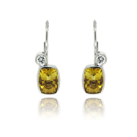 14k White Gold, Yellow Sapphire and Diamond Earrings