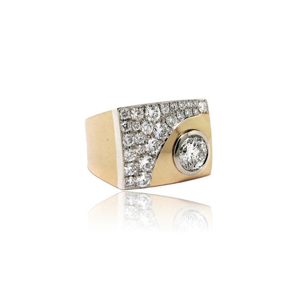 Two Tone Ladies Signet Ring