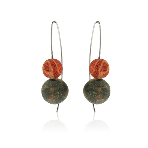 Amber and Coral Earring