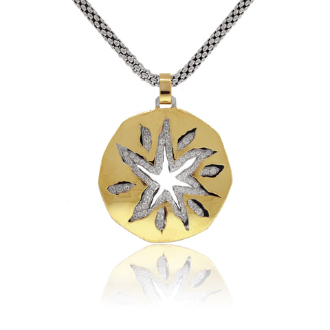 18k Yellow and White Gold Sun