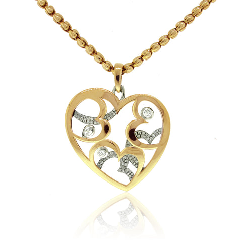18k Yellow and 14k White Gold Spectacular Heart Pendant