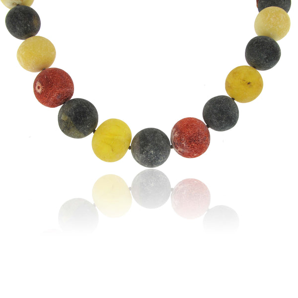 Baltic Amber and Coral Root Necklace with Round Coral Clasp