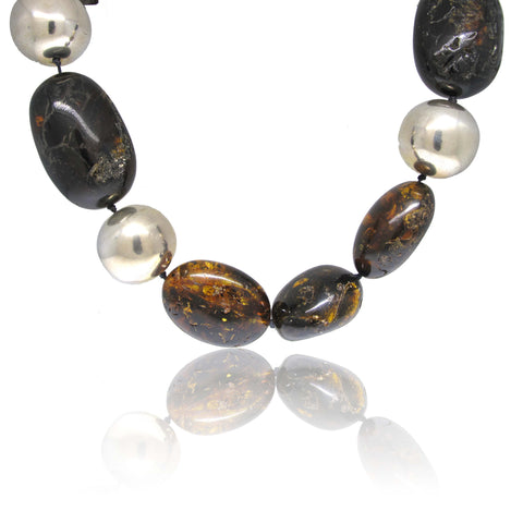 Silver and Cognac Baltic Amber Necklace