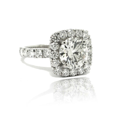 3.60ctw Diamond Cushion Halo Ring