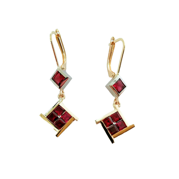 14K Y/G Garnet Earrings