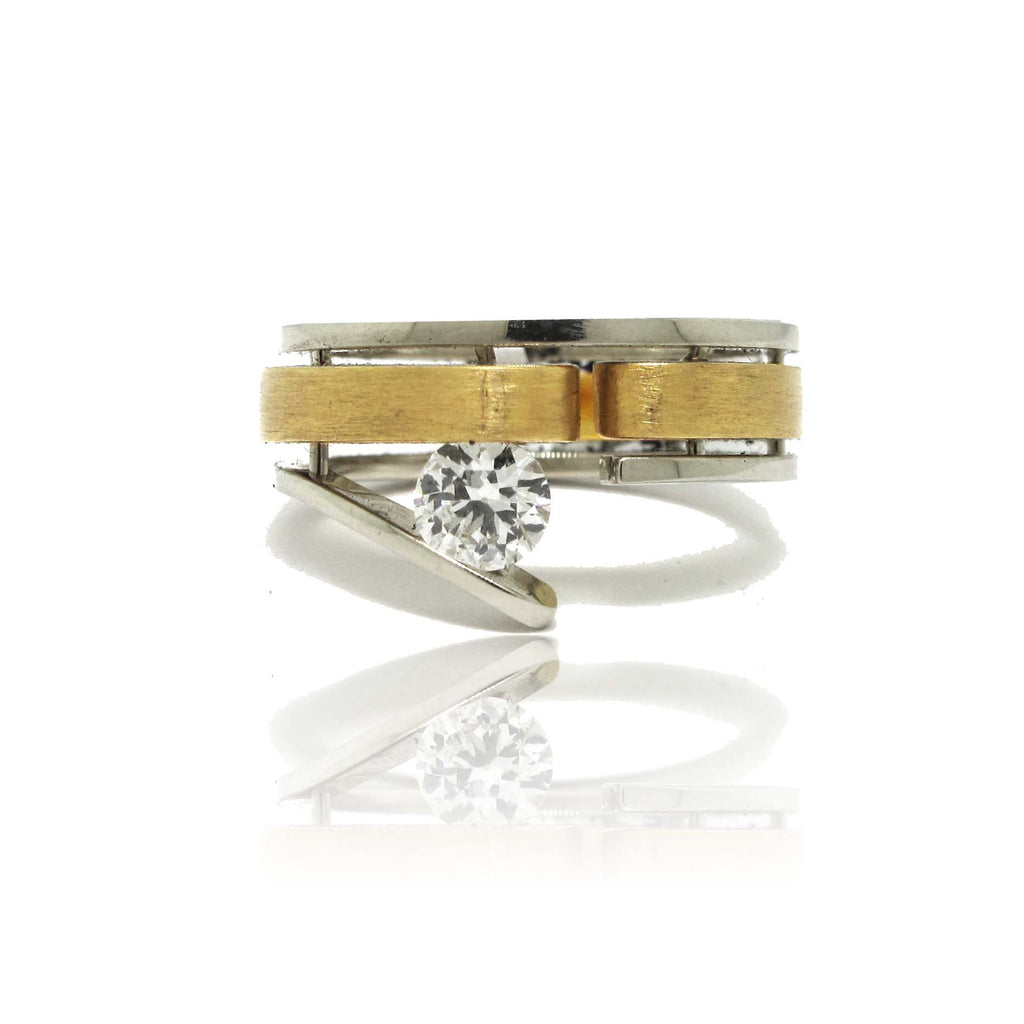 18k Yellow and 14k Whit Gold Diamond Tri Band Ring