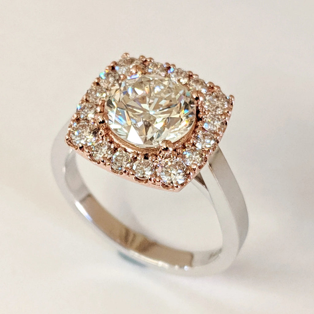 14K White and Rose Gold 'Super-Halo' Diamond Ring