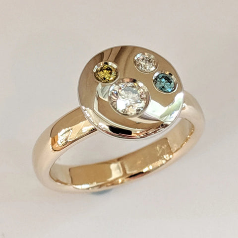 14K Yellow and White Gold Family 'Disk' Ring with Diamonds