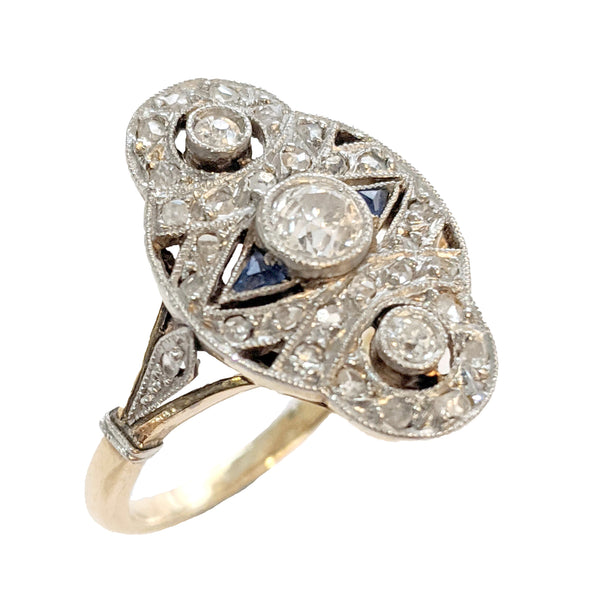 18K & Platinum Diamond and Sapphire Vintage French Ring