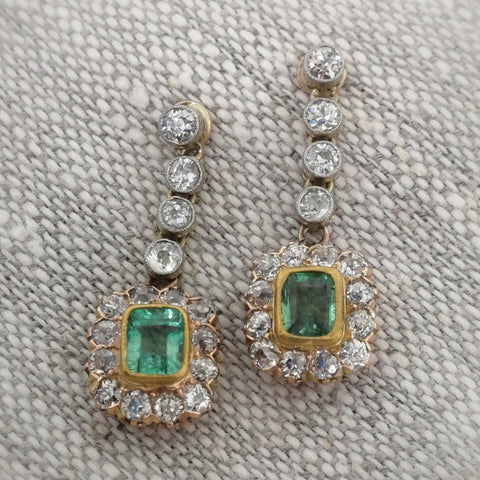 Vintage Emerald and Diamond Gold Earrings