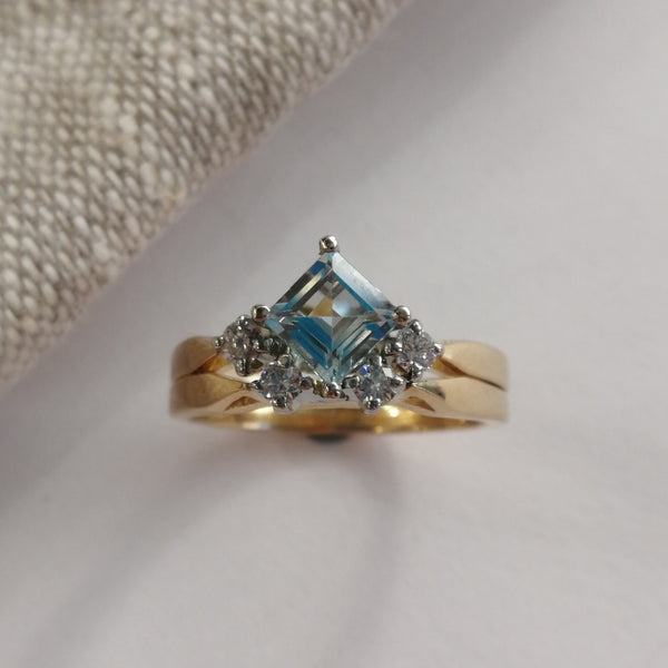 18K Yellow Gold Aquamarine and Diamond Ring Set