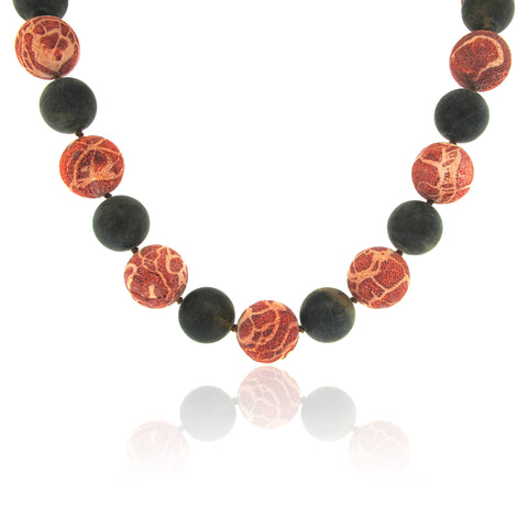 Coral and Amber Alternating Necklace