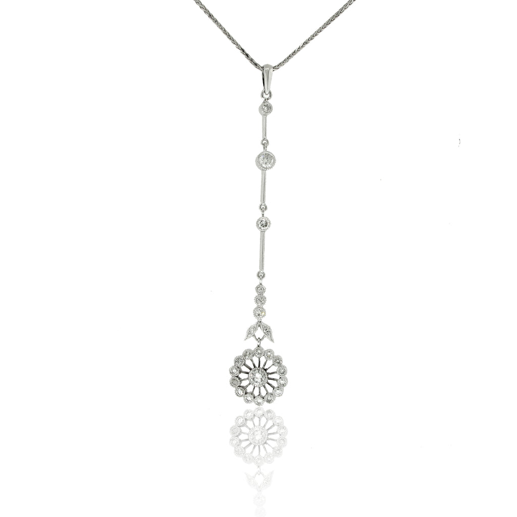 Long Flower Designed Diamond Pendant