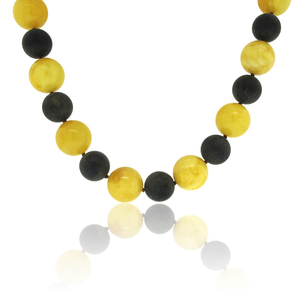 Banana and Dark Cherry Amber Necklace with Toggle Clasp