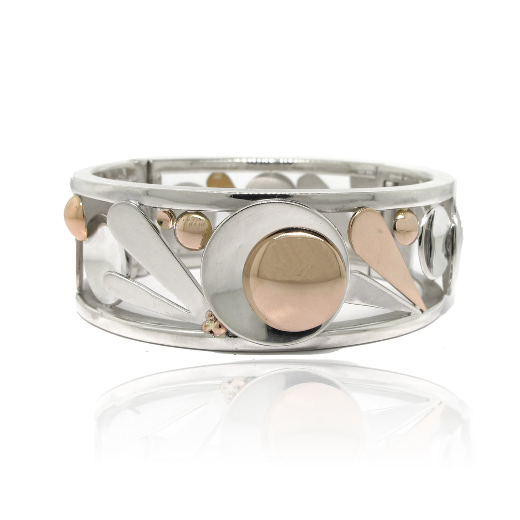 Sterling Silver and 14k Rose Gold Geometric Handmade Bangle
