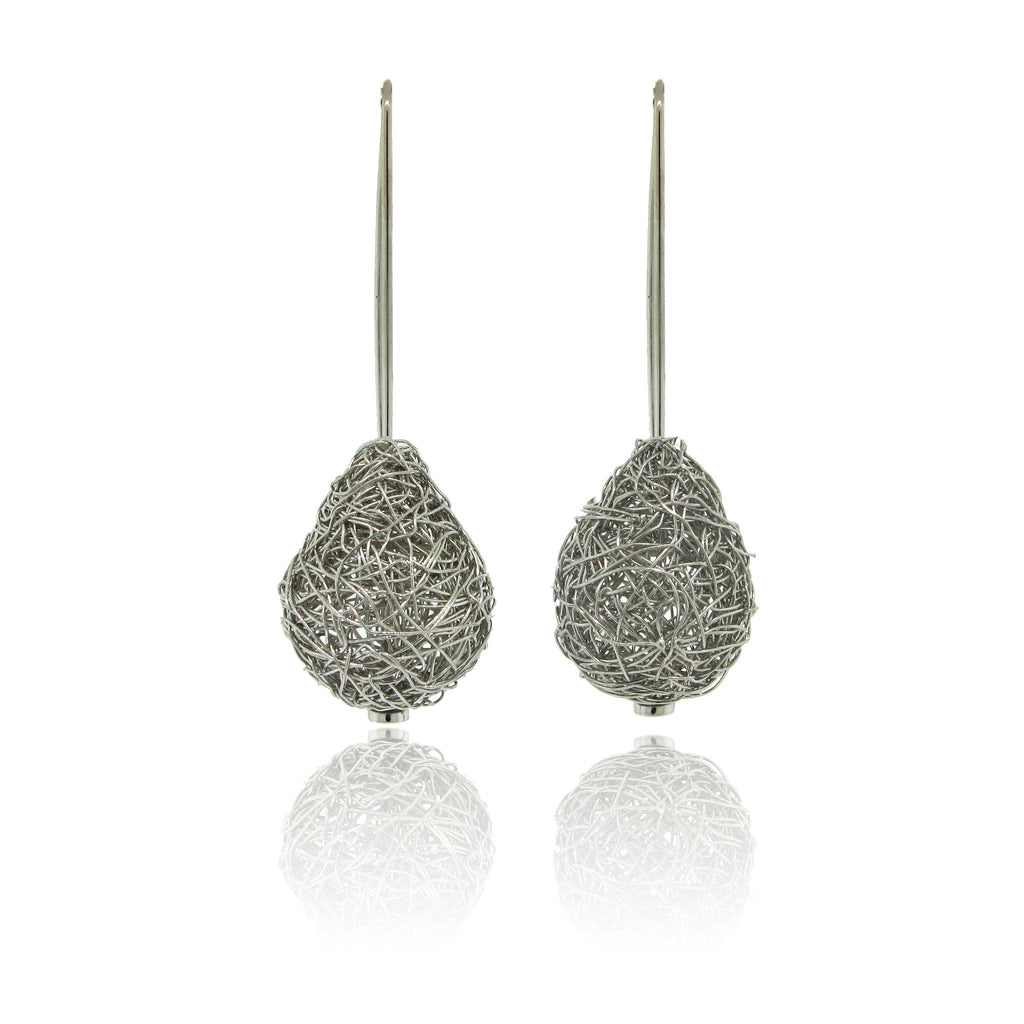 14k White Gold Pear Shape Mesh Earrings